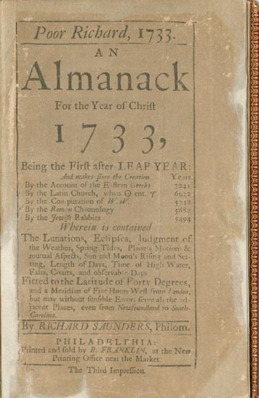 Poor Richard's Almanack is published