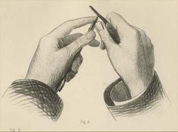 "Detail showing the sharpening of a crayon from Pl. 9, ""Drawing Instruments &c used in Lithography"" in Every Man His Own Printer Or, Lithography Made Easy: Being an Essay upon Lithography in All Its Branches (London: Waterlow and Sons, 1854)."