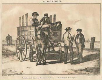 Augustus Köllner, The Rag Tender. Pen and ink lithograph, tinted with one stone in City Sights for Country Eyes (Philadelphia: American Sunday-School Union, [1856]). Courtesy of the Historical Society of Pennsylvania.