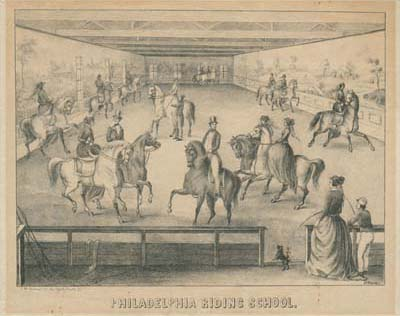 Henry Dacre, Philadelphia Riding School(Philadelphia: C. M. Greiner, No. 43 North Fourth St., ca. 1850). Crayon lithograph, tinted with one stone.