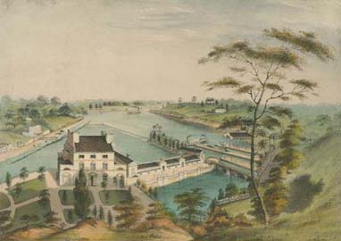 [A View of the Fairmount Waterworks with Schuylkill in the Distance. Taken from the Mount.] ([Philadelphia], ca. 1838). Crayon lithograph, hand-colored.