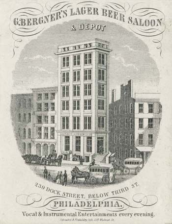 G. Bergner's Lager Beer Saloon & Depot, 239 Dock Street, Below Third St., Philadelphia. Vocal & Instrumental Entertainments Every Evening (Philadelphia: Schnabel & Finkeldey, [1859]). Engraving on stone. Gift of John A. McAllister.