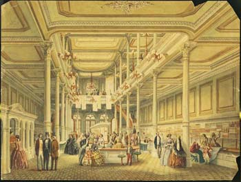 [Interior view of L. J. Levy & Co.'s Dry Goods Store, Chestnut St., Phila.], ca. 1857. Watercolor. Courtesy of the Print & Picture Collection, Free Library of Philadelphia.