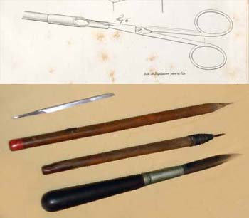 A. Lithographic Pen. Detail from Pl. XLII in Godefroy Engelmann, Traité de Lithographie (Mulhouse, Germany: P. Baret, 1839).  Courtesy of the Historical Society of Pennsylvania. B. Graver, Etching Needle, and Scraper, late 19th-century.