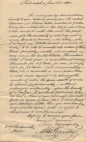 Maurice Traubel, Letter of Solicitation, June 23, 1860.  Courtesy of The Library of Congress, Manuscript Division.