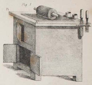 """Table for Working Printing Inks."" Detail from plate in Antoine Raucourt, A Manual of Lithography (London: Longman, Rees, Orme, Brown, Green and Longman, 1832).  Courtesy of the Historical Society of Pennsylvania."