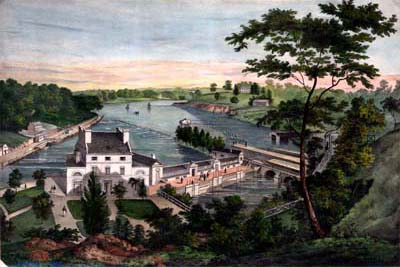 [A View of the Fairmount Waterworks with Schuylkill in the Distance. Taken from the Mount.] ([Philadelphia: Printed and published by J. T. Bowen, 1838]). Crayon lithograph, hand-colored.