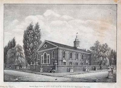 William L. Breton, North-East View of St. Peter's Church (Episcopal) Philada. (Philadelphia: Kennedy & Lucas' Lithography, 1829). Crayon lithograph.