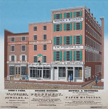 Chestnut Street, Sept. 1846 (Philadelphia, 1846). Wood block in colored ink.