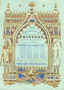 E. Ketterlinus & Co. Label Printers, No. 40 North Fourth St., Philadelphia (Philadelphia: E. Ketterlinus & Co., ca. 1855). Lithograph printed on green cardstock, embossed, gilded, and tinted with three stones. Courtesy of the Historical Society of Pennsylvania.