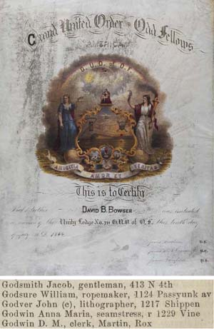 Grand United Order Odd Fellows America (Philadelphia: Hunter, 1843). Chromolithograph, hand-colored. Courtesy of the Historical Society of Pennsylvania.