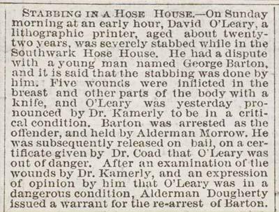 """Stabbing in a Hose House,"" Public Ledger, November 5, 1867."