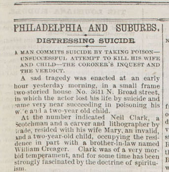 """Distressing Suicide,"" Philadelphia Inquirer, January 30, 1873. s Courtesy of the Historical Society of Pennsylvania."