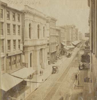 [Chestnut Street, East of Fourth Street (Philadelphia: James Cremer], photographed ca. 1867, published ca. 1875). Albumen print on stereograph mount.