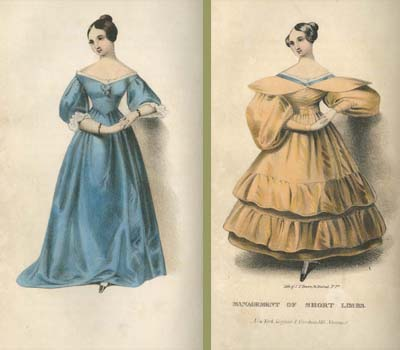 """""""Management of Short Limbs."""" Hand-colored, crayon lithograph printed by John T. Bowen, in Mrs. A. Walker, Female Beauty, as Preserved and Improved by Regimen, Cleanliness and Dress (New-York: Scofield and Voorhies, 146 Nassau Street. J. & H. G. Langley, 57 Chatham St., [1840?])."""