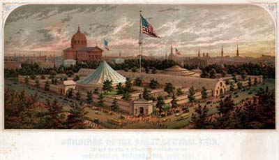 James F. Queen, Buildings of the Great Central Fair, in Aid of the U. S. Sanitary Commission Logan Square, Philadelphia, June 1864 (Philadelphia: Printed & lithogrd. by P. S. Duval & Son, 1864). Chromolithograph.