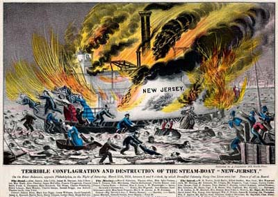 """Terrible Conflagration and Destruction of the Steam-boat """"New Jersey,"""" On the River Delaware, Opposite Philadelphia, on the Night of Saturday, March 15th, 1856, Between 8 and 9 O'Clock, by Which Dreadful Calamity Sixty-One Lives Were Lost (Philadelphia: Published by A. Pharazin, 103 South Street, [1856]). Crayon lithograph, hand-colored."""