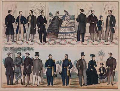 Louis Haugg, Philadelphia, Paris & New York Fashions, for Spring & Summer of 1864 (Philadelphia: Published and sold by F. Mahan, 1864). Colored by A. Biegeman. Crayon lithograph, hand-colored.