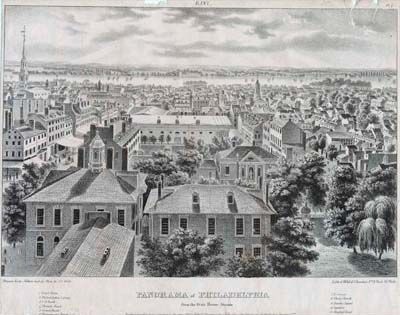 John Caspar Wild, Panorama of Philadelphia from the State House Steeple. East. Crayon lithograph in Views of Philadelphia, and Its Vicinity (Philadelphia: [J. T. Bowen], 1838). Gift of Charles A. Poulson.