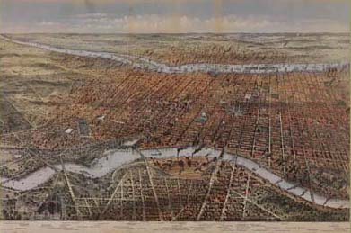 John Bachmann, Bird's Eye View of Philadelphia (Philadelphia: Published by J. [Weik], [1857]). Printed by P. S. Duval & Son's lith. Crayon lithograph, tinted and hand-colored. Courtesy of the Historical Society of Pennsylvania.