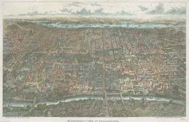 Herline & Co., Microscopic View of Philadelphia (Philadelphia:Published by John Weik, 1869). Engraving on stone, hand-colored.