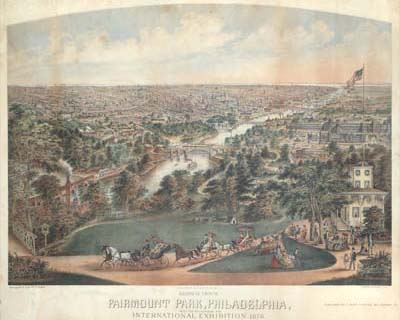 Christian Inger, Birdseye View of Fairmount Park, Philadelphia, with the Buildings of the International Exhibition 1876 (Philadelphia: Published by C. Inger & Hensel, 1875). Printed by Thomas Hunter. Chromolithograph.