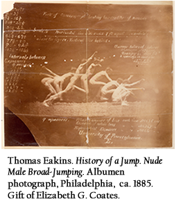 Thomas Eakins. History of a Jump. Nude Male Broad-Jumping. Albumen photograph, Philadelphia, ca. 1885. Gift of Elizabeth G. Coates.