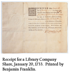 Receipt for a Library Company Share, January 20, 1733. Printed by Benjamin Franklin.