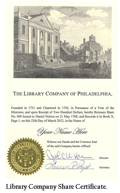 Library Company Share Certificate.