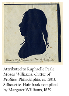 Attributed to Raphaelle Peale, Moses Williams, Cutter of Profiles. Philadelphia, ca. 1803. Silhouette.
