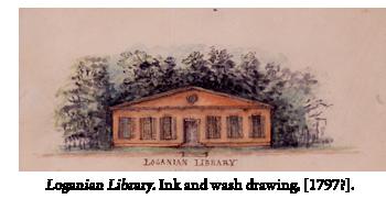 Loganian Library. Ink and wash drawing. [1797?].