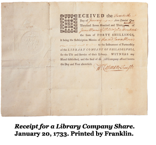 Receipt for a Library Company Share. January 20, 1733. Printed by Franklin.