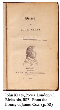 John Keats, Poems. London: C. Richards, 1817.  From the library of James Cox. (p. 50)