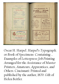 Oscar H. Harpel. Harpel's Typograph; Oor Book of Specimens: Containing … Examples of Letterpress Job Printing Arranged for the Assistance of Master Printers, Amateurs, Apprentices, and Others. Cincinnati: Printed and published by the author, 1870. Gift of Helen Beitler.