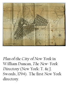 Plan of the City of New York in William Duncan, The New-York Directory (New York: T. & J. Swords, 1794). The first New York directory.