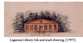 Loganian Library. Ink and wash drawing. [1797?].